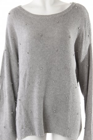Topshop Long-Pullover Strass grau