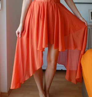 Topshop Love Maxi Rock Wasserfall Volant Orange Coral Chiffon highwaist Gr. S/ M 36/38