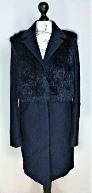 Topshop Pelt Coat dark blue
