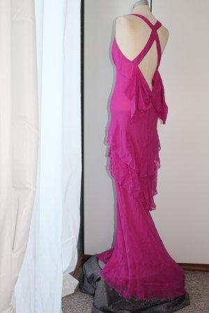 Topshop Maxikleid Trägerkleid Abendkleid rückenfrei 100% Seide pink Schleife Gr. 40 M L