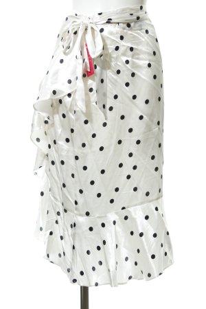 Topshop Midirock weiß-schwarz Punktemuster extravaganter Stil