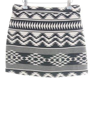 Topshop Minirock schwarz-wollweiß grafisches Muster Vintage-Look