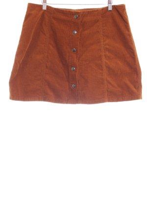 Topshop Minirock rostrot-cognac Streifenmuster 90ies-Stil