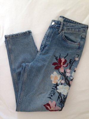 Topshop Pantalone a vita alta blu