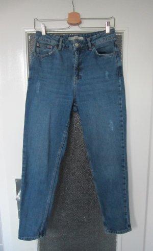 Topshop Jeans a carota blu acciaio Cotone