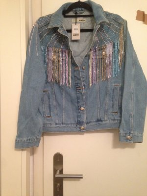 Topshop Moto fringle Strass Jeans Jacke neu