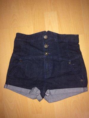 Topshop Pantaloncino a vita alta blu