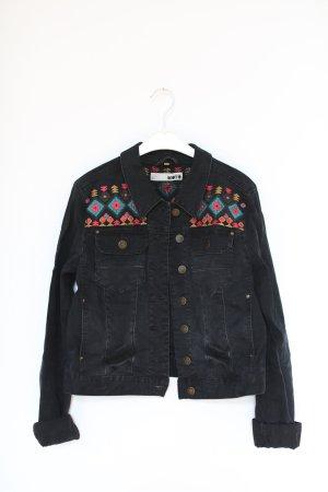 Topshop Moto Jacke Jeansjacke Schwarz Grau Navajo Aztec Gr. 38 Vintage Western