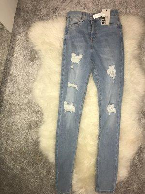Topshop Jeans taille haute bleu azur-bleuet