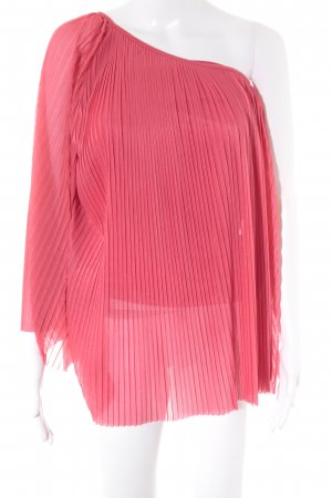 Topshop One-Shoulder-Shirt himbeerrot Romantik-Look