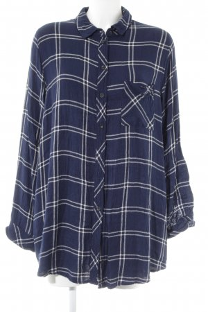 Topshop Oversized Bluse dunkelblau-weiß Karomuster Casual-Look