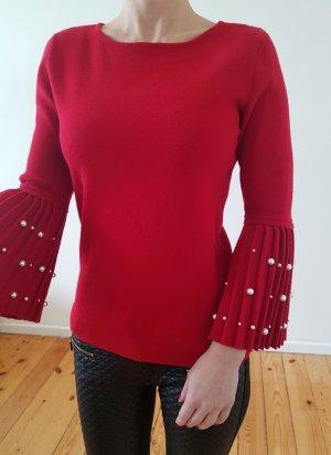 Topshop Perlen Pullover 32 34 XS S rot knit Volant Pulli Oberteil Bluse Shirt Tunika Longpulli Top neu NP 65€