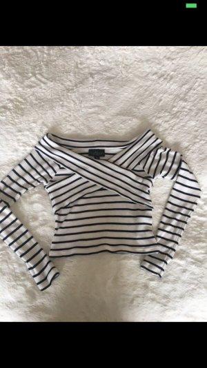 Topshop Petite Camicia cropped bianco-blu scuro