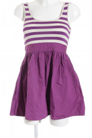 Topshop Petite Minikleid creme-violett Ringelmuster Romantik-Look