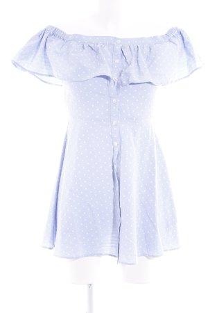 Topshop Petite Off the shoulder jurk azuur-wit gestippeld patroon