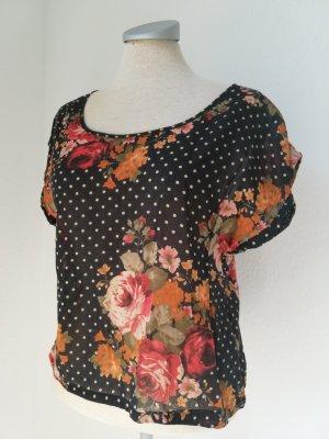 Topshop petite Top Tunika kurzarm Gr. UK 10 EUR 38 S M schwarz bunt Blumen Punkte Baumwolle