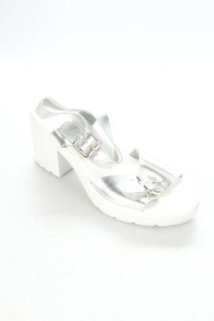 Topshop Plateau-Sandalen weiß-silberfarben extravaganter Stil