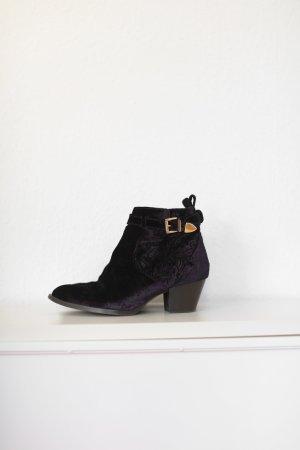Topshop Premium Western Boots Stiefeletten Gr. 38 Goldene Schnalle Blogger Samt
