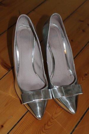 Topshop Pumps Schleife Gr. 39 Silber Metallic blogger vintage boho