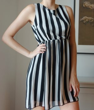 Rare london Cut out jurk wit-zwart Polyester
