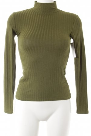 Topshop Turtleneck Sweater olive green striped pattern casual look
