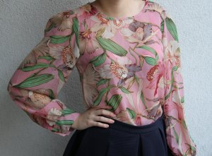 Topshop Long Sleeve Blouse light pink polyester