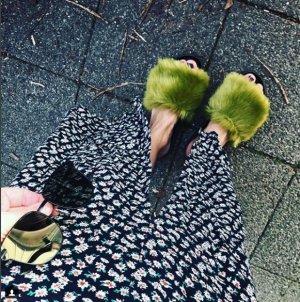 Topshop Sandale Sandalen Sandalette Faux Fake Fur Pelz Kunstfell Khaki Fluffy