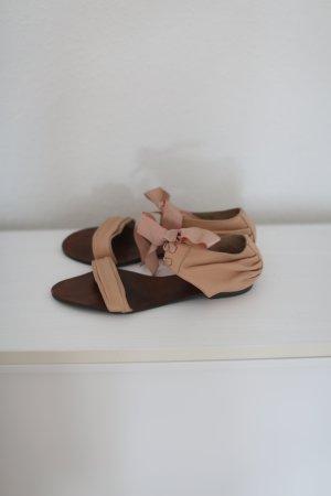 Topshop Sandalen Nude Schleife Satinband Vintage Look Gr. 38 Rose Rosé