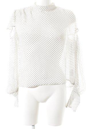 Topshop Schlupf-Bluse weiß-schwarz Punktemuster Casual-Look