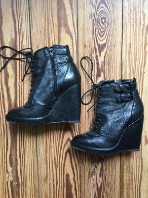TOPSHOP Schuhe Ankle Boots Schnürschuhe Keilabsatz Wedges Leder 38