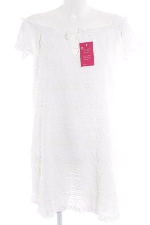Topshop schulterfreies Kleid weiß Spitzen-Optik