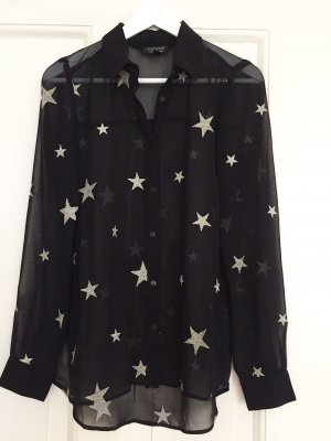 TOPSHOP Shirt Bluse Sterne transparent Saint Laurent-Style schwarz – 36