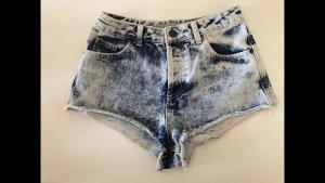 Topshop High-Waist-Shorts steel blue