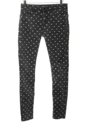 Topshop Skinny Jeans hellgrau-weiß Allover-Druck Casual-Look