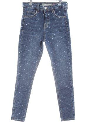 Topshop Skinny Jeans blau-wollweiß Punktemuster Casual-Look