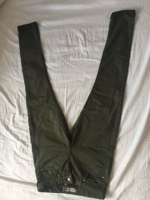 Topshop Pantalone a vita bassa grigio-verde Tessuto misto