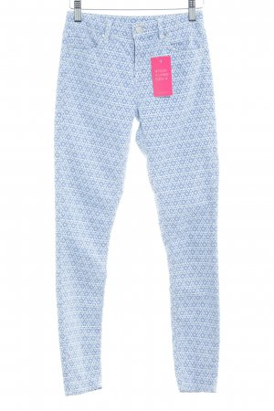 Topshop Skinny Jeans weiß-himmelblau abstraktes Muster Casual-Look