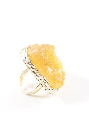 Topshop Bague incrustée de pierres doré-orange clair style décontracté