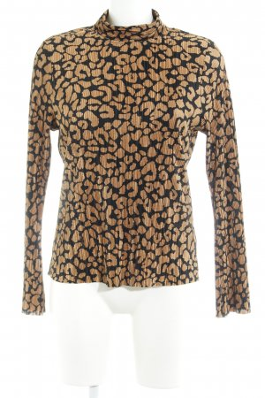 Topshop Blouse met opstaande kraag cognac-zwart abstract patroon wetlook