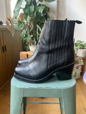 Topshop Bottines à enfiler noir cuir