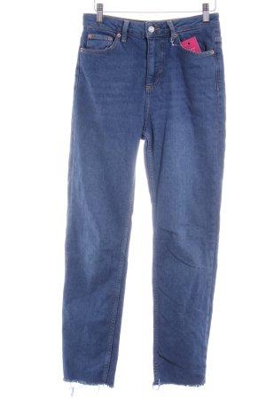 Topshop Straight-Leg Jeans stahlblau Casual-Look