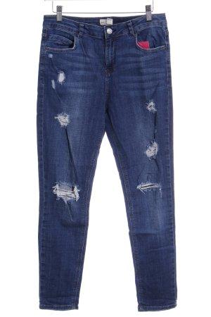 Topshop Stretch Jeans dunkelblau-hellbeige Casual-Look