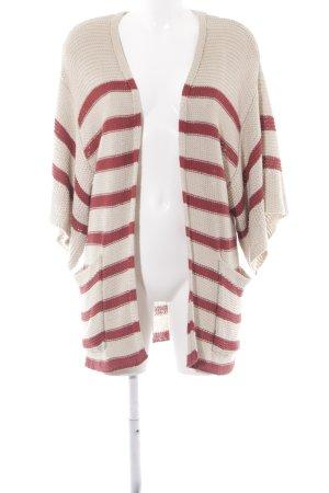 Topshop Cardigan in maglia beige-rosso scuro motivo a righe stile casual
