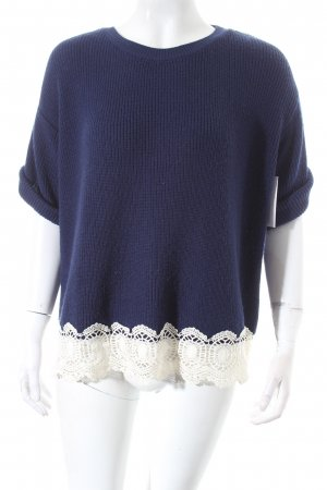 Topshop Knitted Sweater dark blue-white classic style