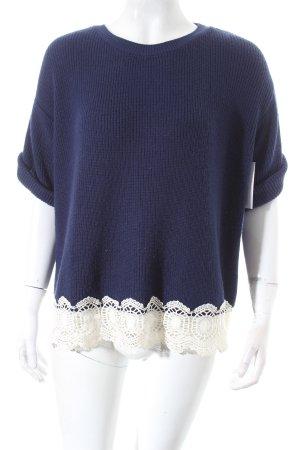 Topshop Maglione lavorato a maglia blu scuro-bianco stile classico