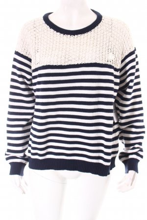 Topshop Knitted Sweater dark blue-white striped pattern casual look