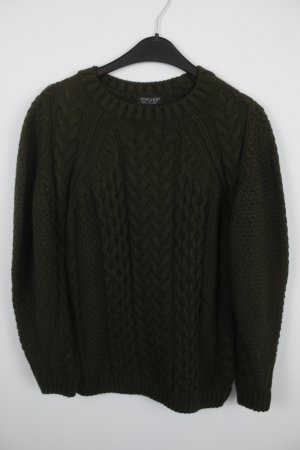 Topshop Cable Sweater dark green polyacrylic