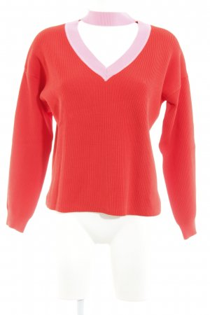 Topshop Strickpullover rot-rosa Casual-Look