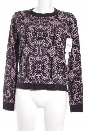 Topshop Knitted Sweater black-light pink embellished pattern classic style