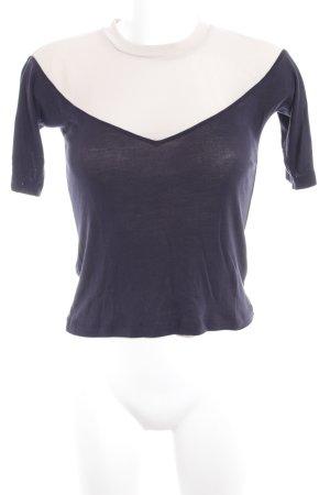Topshop Strickshirt dunkelblau-creme Casual-Look